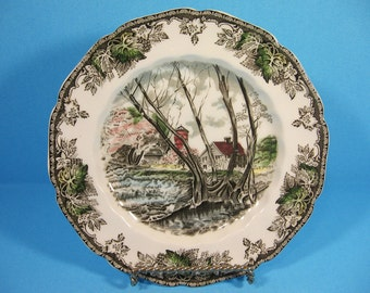Vintage Plate, Johnson Bros, The Friendly Village, Willow by the Brook, England 1950s