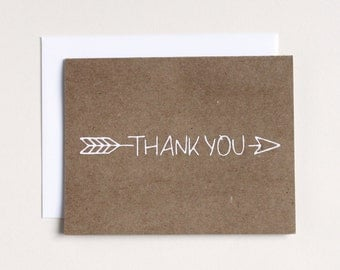 Clearance - Arrow Thank You Card - Screenprinted - Arrow pattern - kraft paper thank you - greeting card - thank you card - arrow stationery