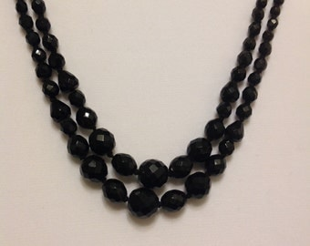 Black, Jet Black, Hand-Knotted, Double Strand Necklace from the 1920s