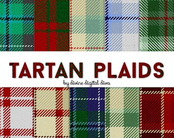 Tartan Plaid Fabric Like Papers & Seamless Tiles | Digital Scrap Paper Pack | Instant Download