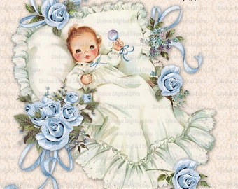 Vintage Baby Boy with Blue Roses & Ribbons Christening | Baptism | Clipart Instant Download