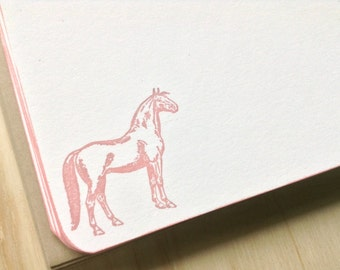 vintage inspired flat note cards and envelopes, stationery set, dusty rose horse, a2, set of 10, kraft envelopes