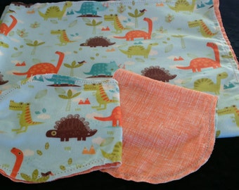 Dinosaur T-Rex Triceritops with Orange Crosshatch Backing Hemstitched Baby Blanket and Burps ready for you to crochet by Lindas Hemstitching