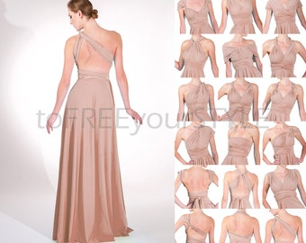 Long infinity dress in DUSTY ROSE shiny, FULL Free-Style Dress, long convertible bridesmaid dress, infinity bridesmaid dress, bridal dresses