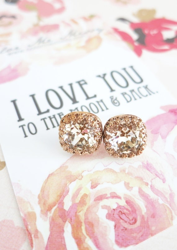 Emma - Swarovski Light Silk Crystal Rose Gold Crown Bridal Post Stud Earrings Cushion Cut Square 10mm Wedding Bridesmaids Gifts