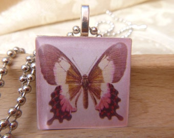 Wood Tile Pendant Pink Butterfly Silver Plated Ball Chain