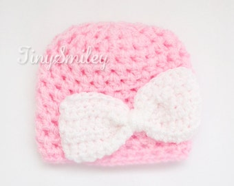 Bow Pink Baby Girl Hat, Newborn Pink Bow Hat, Pink Bow Baby Beanie, Crochet Baby Girl Beanie, Infant Baby Girl Hat, Photo Prop, Bow Hat