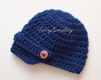 Blue Baby Hat, Newborn Hat, Newsboy Crochet Hat, Crochet Baby Boy Hat, Navy Baby Boy Hat, Baby Outfit, Infant Hats, Hats for Boys, Navy Blue