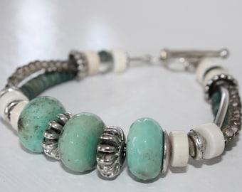 BOHO Beach Chic Seafoam Green Chrysoprase Stone Bracelet