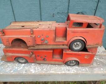 Vintage Texaco Fire Chief Pressed Steel Trucks....Set of 2...Kids or Collectible...Buddy L...Parts