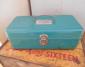 Old Blue Green Metal Loc Wel Tackle Box By Bertel Steel Chest Corp...Tool