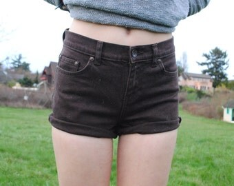 Brown Cuffed High Wausted Shorts ( size 2)