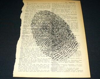 Fingerprint Finger Print Dictionary Art Print Home Decor Gallery Wall Vintage Book Page Art