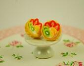 fruit tart earrings - fruit pie earrings - food jewelry