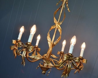 Vintage Italian Toleware Large Gilded Ribbon Chandelier : 2 Available HOLLYWOOD REGENCY