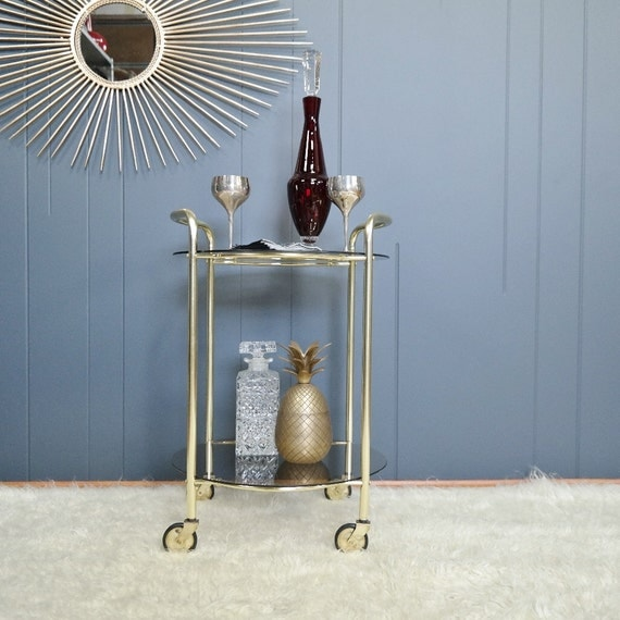 Anodised gold 1970s petite bar cart side table by for Petite table bar