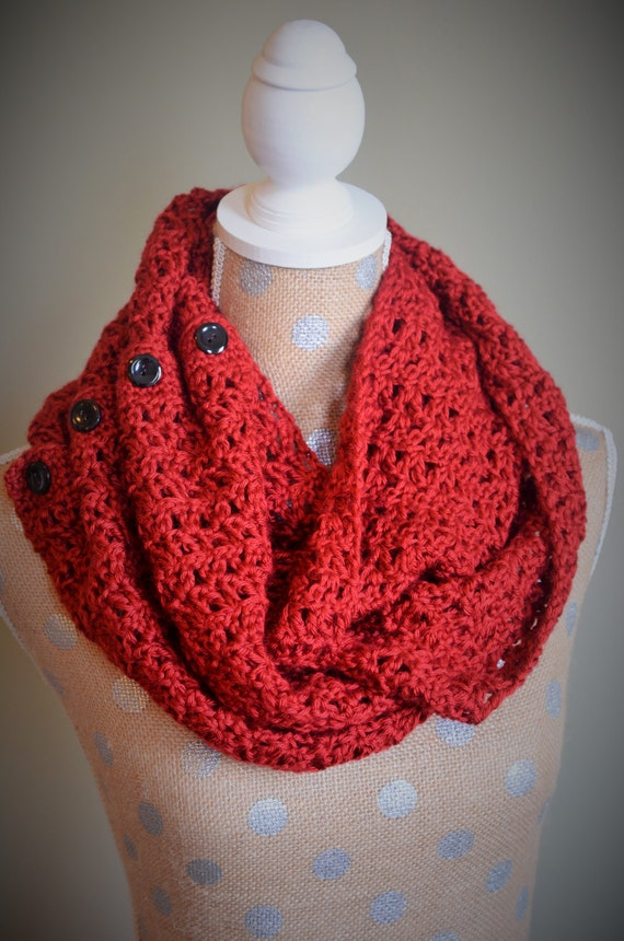 Crochet Pattern For Infinity Scarf With Buttons : Pattern Only: Button Up Infinity Scarf