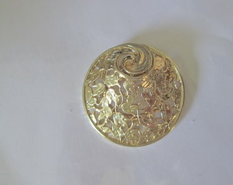 Vintage Scarf Clip. Signed Gold Tone Abstract Scarf Clip.