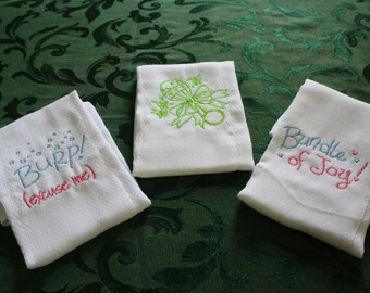 Bundle of Joy, Embroidered, Baby Burping Cloths.  Set of Three.
