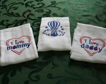 Cute Ballon, Embroidered, Baby Burping Cloths.  Set of Three.