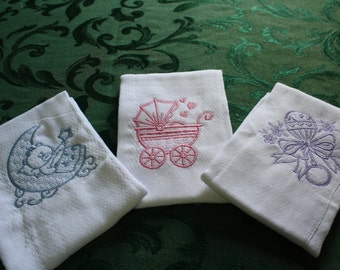 Baby Buggy, Baby Rattle and Teddy Bear,  Embroidered, Baby Burping Cloths.  Set of Three.