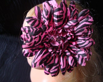 Pink Zebra Flower Gerber Daisy Girl's Headband Hair Accessory