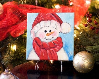 Cute christmas painting Snowman acrylic painting Canvas christmas art 6x6x.5 christmas in july Original canvas art Small snowman painting