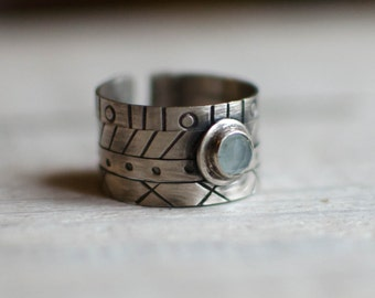 silver ring solid, graphics, urban, custom, fine, blue, black and white stone