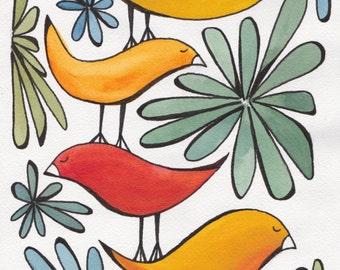 Birds in Jungle art print, nursery animal art, watercolor print, print of original painting