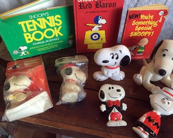 Peanuts Snoopy Books Toys and Figurines Large Lot