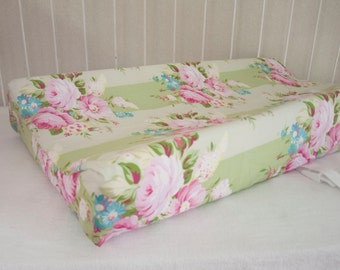 Roses Floral Rose Pink, Mint / Green, and Aqua Baby  Changing Pad / Mat Cover