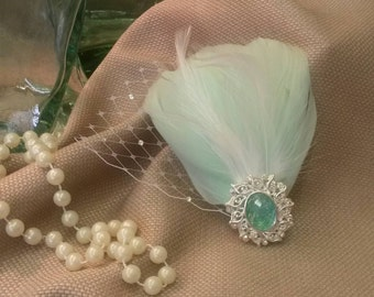 LIGHT AQUA Bridal Feather Hair Accessory