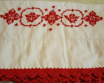 Red Embroidered Pillowcases Pair