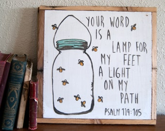 Psalm 119:105  | Mason Jar & Fireflies | Hand Lettered Wall Decor
