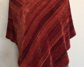Hand woven Serape-Poncho Rayon Chenille Hand Woven Poncho Wrap Shades of Red & Burnt orange
