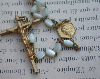 French antique mother of pearl rosary religious cross crucifix ornate gold gilt bronze flower cap