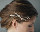 Thorn Hair Comb- Botanical Headpiece in Polished Brass, Bronze or Silver