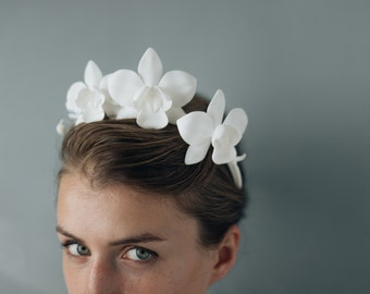 Orchid Crown- 3D Printed Modern Flower Crown Headpiece with Ribbon