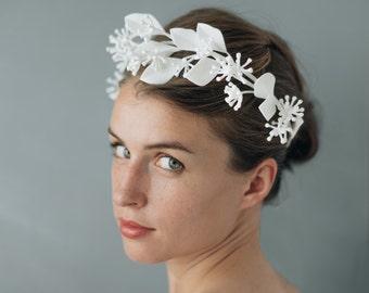 Modern Eucalyptus Wreath- 3D Printed Nylon Flower Crown in White Nylon with Ribbon