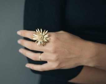 Daisy Ring- Statement Floral Jewelry in Brass, Bronze or Silver.