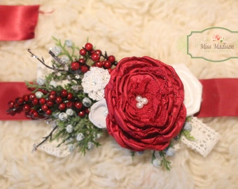 BEAUTIFUL,  Maternity Sash,  Belly Sash, Flower Sash, Floral Sash, Flower Belt, Christmas/ Holiday/