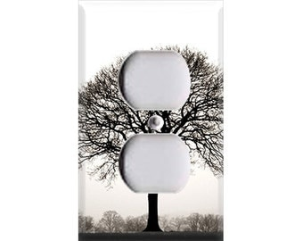 Black and White Autumn Tree Outlet Cover