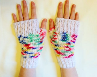 Multicoloured ladies gloves - gauntlets - fingerless mittens - colourful