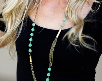 Gorgeous Necklace with Brass and Jade-Colored Beading! 2 Styles!