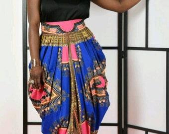 Dashiki Harem Skirt-Blue/pink