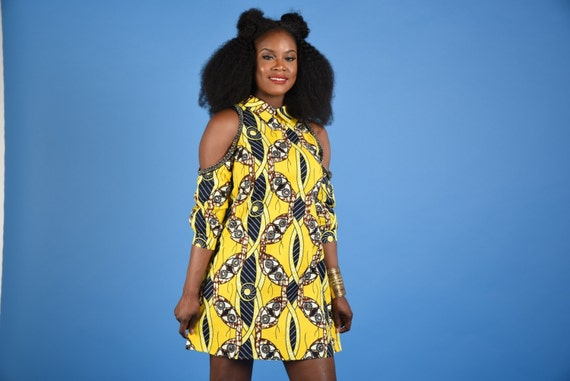 Yellow  Shift dress African print