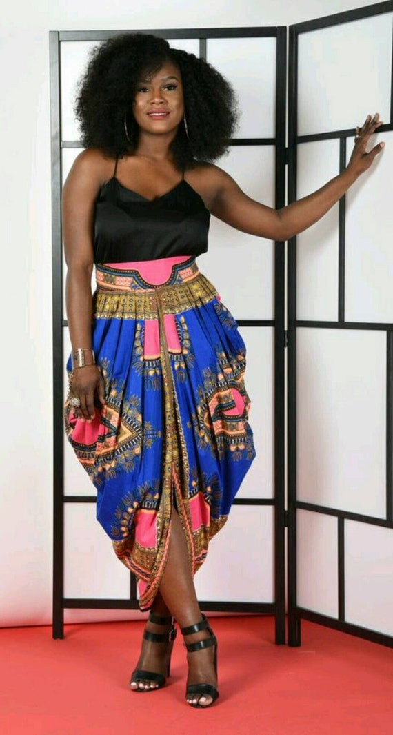 Dashiki Harem Skirt-Blue/pink