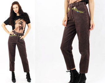Vintage 80's  Brown Denim High Waist Tapered Embroidered Jeans Size S