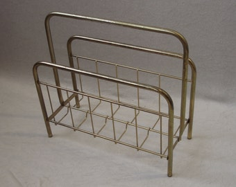 50s MAGAZINE RACK, Book Rack, Gold-color, Annod. Aluminum, German Mid Century Modern