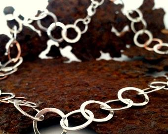Silver hoop necklace, hoop pendant, handmade jewellery